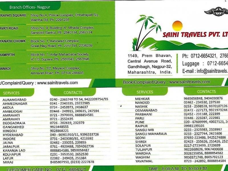SAINI TRAVELS PVT. LTD. JABALPUR  MOB-9425862736 ,9424707959 ,0761-4920488