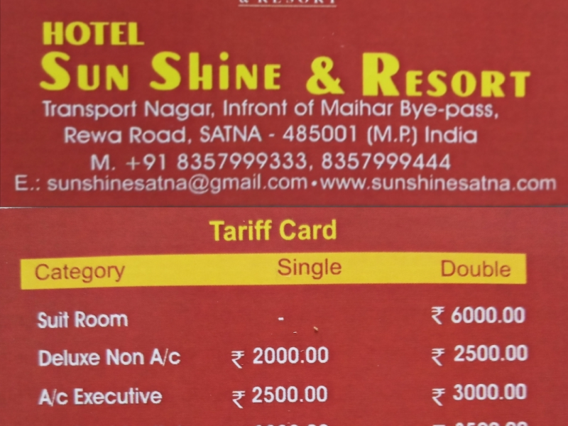 SUN SHINE & RESORT  MOB-8357999333